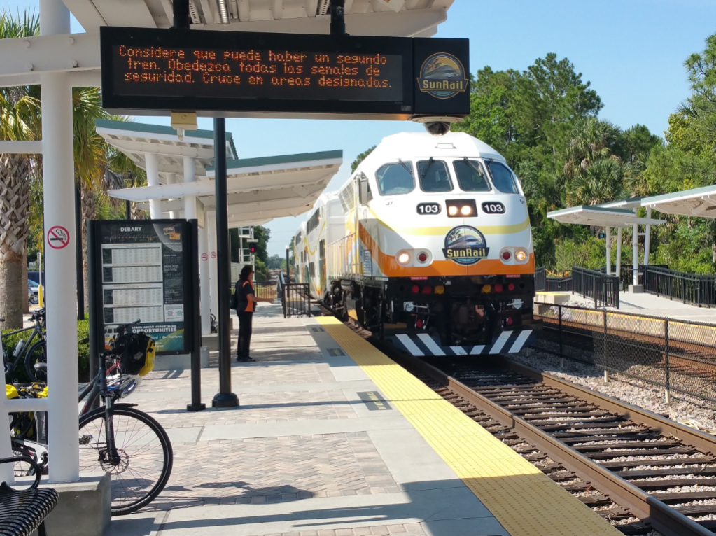 Sunrail is bike-friendly - no charge to take your bike from SJR2C to Orlando