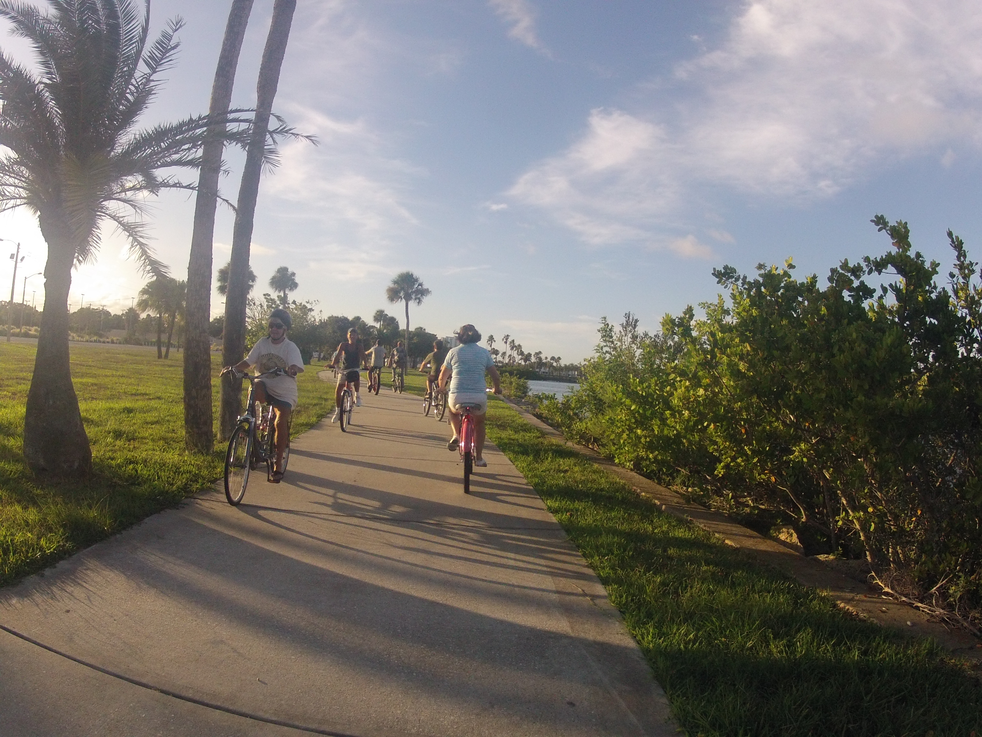 Cyclists along the Sweetheart Trail in Daytona Beach