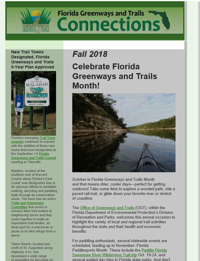 Office of Greenways and Trails Fall 2018 Newsletter
