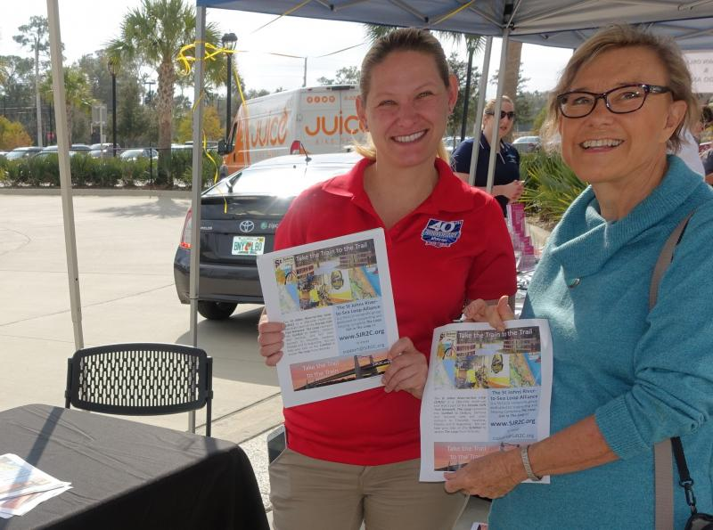 Maggie Ardito and Jennifer Buras share information about SunRail connection