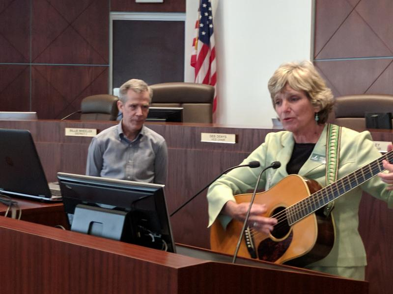 Linda Crider introduces Ken Bryan with Greenways and Blueways serenade