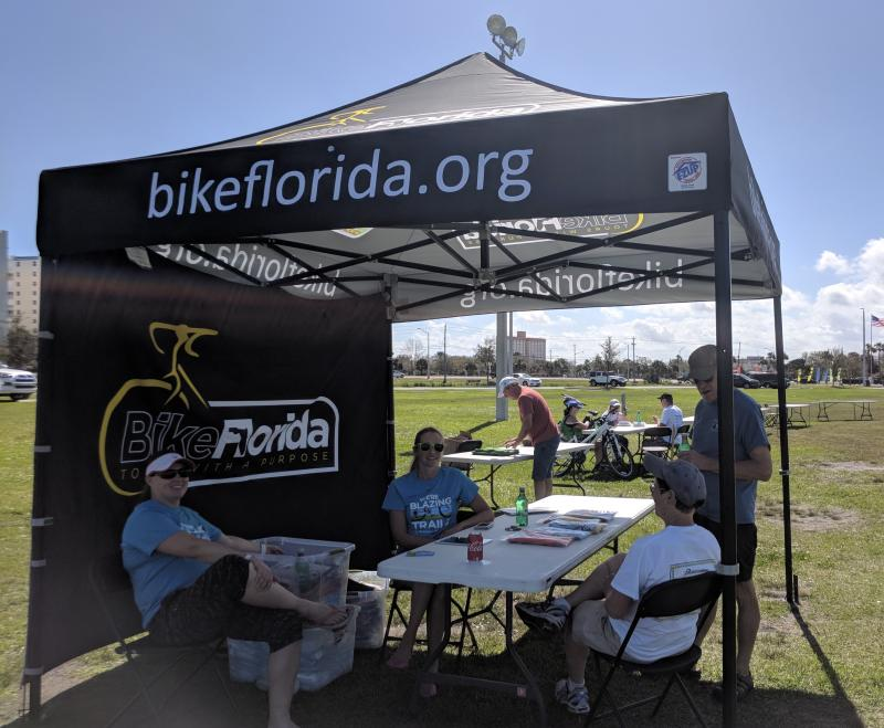 Bike Florida promoting the Spring Tour in Titusville and Edgewater on the SJR2C Loop