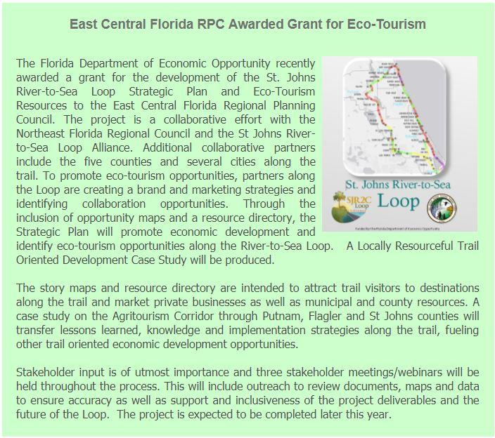 ECFRPC and St Johns River-to-Sea Loop Alliance Grant from DEO