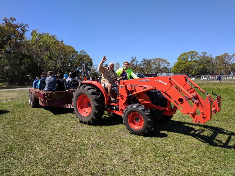 Tractor ride to feed the farm animals at Rype and Readi Elkton Farm SJR2C