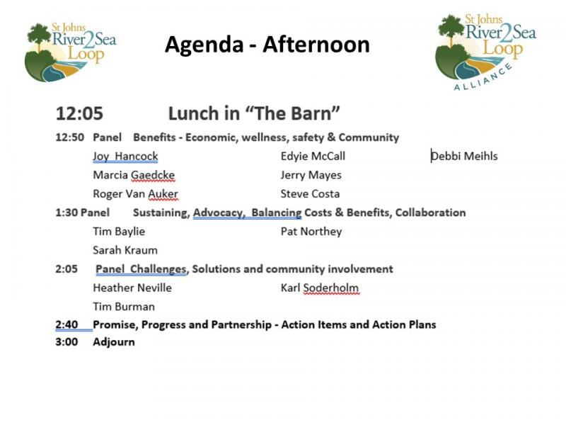 A full morning agenda at the St Johns River-to-Sea Loop Stakeholder Workshop
